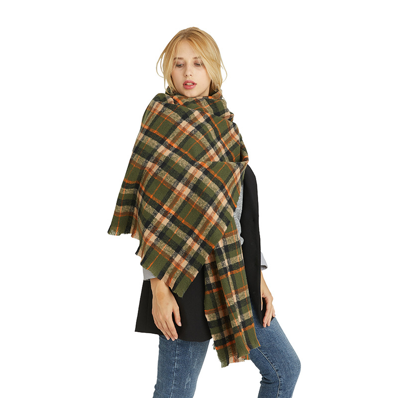 Winter colorful fashion Big Grid thicken Scarf shawl for women