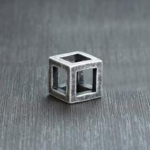 """Vnox Ретро пустой кубик кулон для мужчин, квадратное винтажное ожерелье из нержавеющей стали панковские геометрические колье 24 """"цепь(Китай)"""