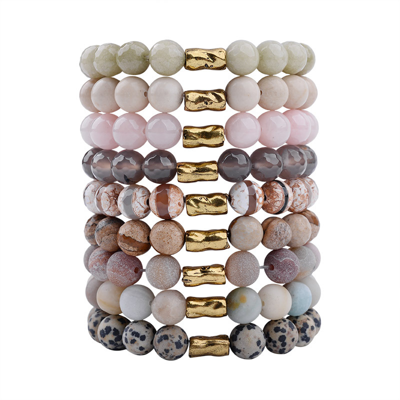 Natural Stone Beaded Copper Tube Bracelet Bohemian men and women crystal jewelry wholesale