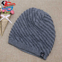 Hoge Kwaliteit Beany Patroon Man <span class=keywords><strong>Wol</strong></span> Loom Knit Hoed