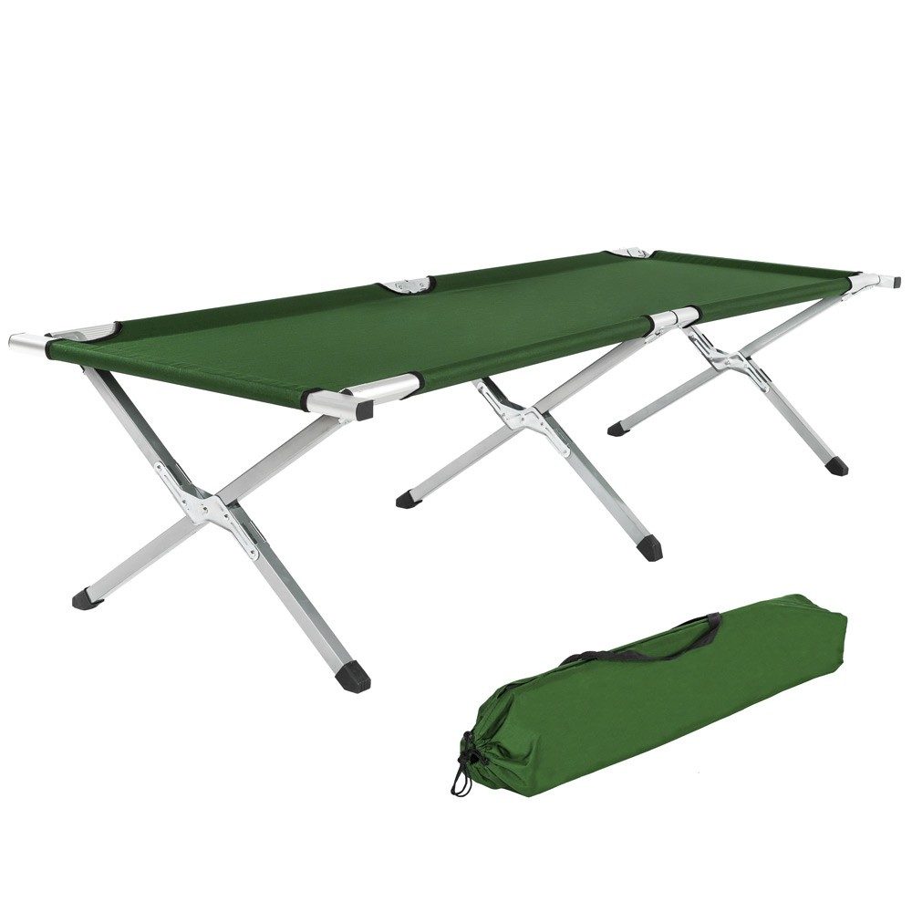 Extended outdoor foldable Aluminum army Green cot single folding <strong>bed</strong> Folding Camping hot sale <strong>beds</strong>