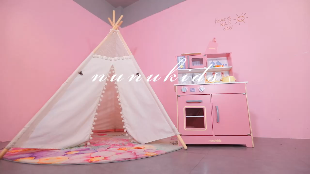 2020 3-6 years Nordic style big safety wooden toys pink kitchen wood toys kids kitchen set toy for girls
