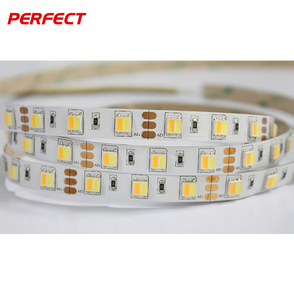 Adjustable dual <strong>color</strong> 2 in 1 led strip SMD5050 CCT WW+CW 60leds/m bi <strong>color</strong> led <strong>light</strong> strip high CRI 90 led tape <strong>light</strong>