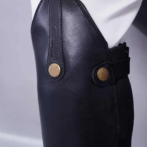 Design for performance and fashion Premium black PU leather Horse Riding Half Chaps