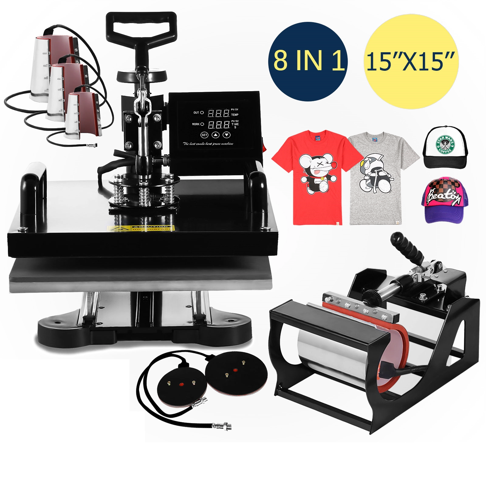 Transfer Presse Sublimation Multifunktionale 8 in 1 3d Hitze Presse Maschine für T-Shirt Becher Hut kappe