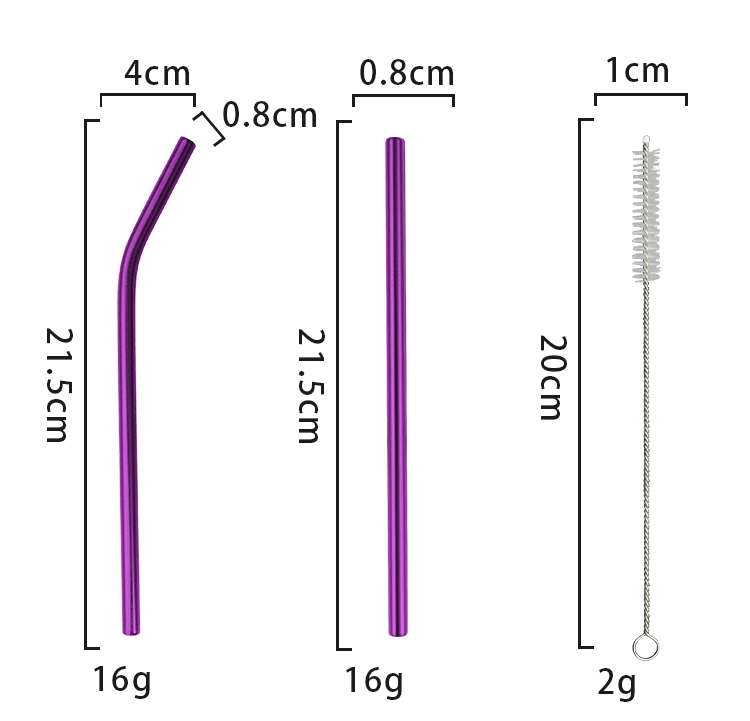 wholesale 8mm diameter purple 18/10 stainless steel coffee stirrer straws