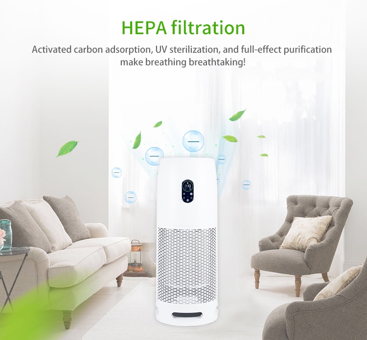 Smart Home Office Air Purifier With Hepa Filter Activated Carbon Filter