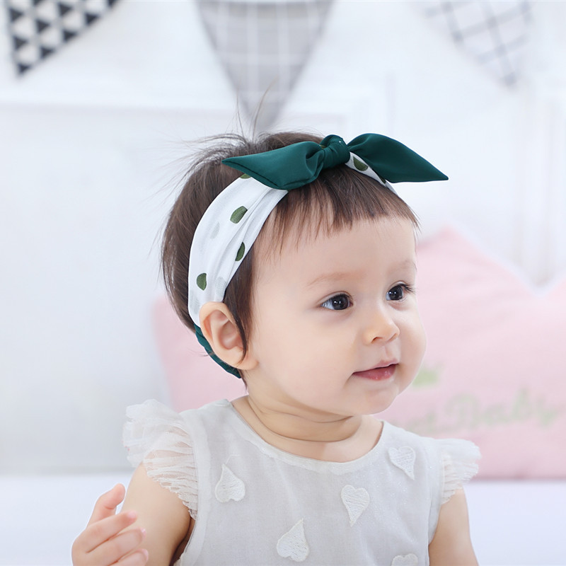 New Design Rabbit Ear Baby Headband Elastic Dot Partysu Hair Band For Kids Hair Accessories