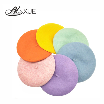 Wholesale Custom High Quality Cheap Solid Color Beret Painter Hat Wool Beret Hat