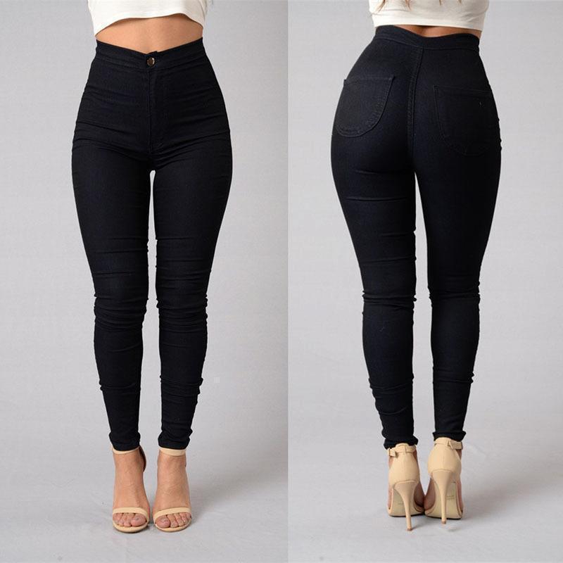 Nuovo Arrivo Qzbaoshu 2020 Solido Casuale Delle Donne a Vita Alta Jean Pantaloni Jeans Pantaloni