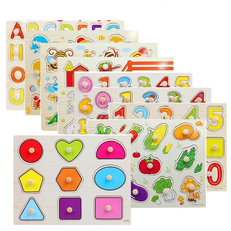 55 styles Cheaper Traffic alphabet Letters Fruit Wooden Puzzle for Toddler