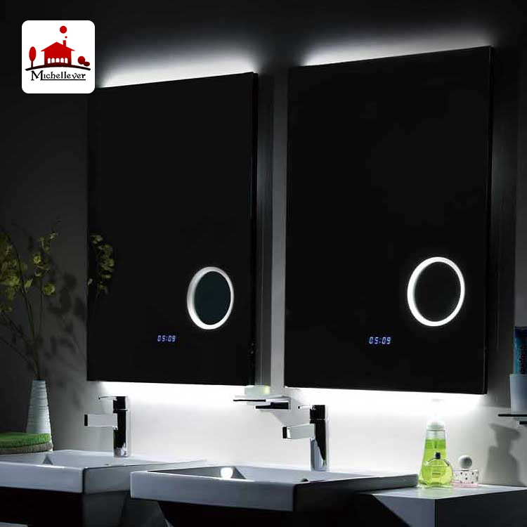 hotel bathroom wall-mounted magnifying mirror bathroom mirror with blue tooth standard bathroom mirror with led lights