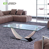 Free Sample Modern Fancy Mirrored Bent Glass Top Coffee table