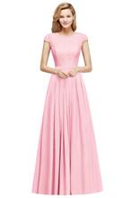 Элегантные кружевные шифоновые длинные платья подружки невесты 2020, очаровательные платья с коротким рукавом для свадебных гостей, бургунд...(China)