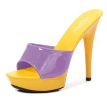 Женские туфли-тапочки, летние туфли из лакированной кожи на тонком каблуке 13 см, тапочки на платформе, привлекательные туфли для зачистки, б...(Китай)