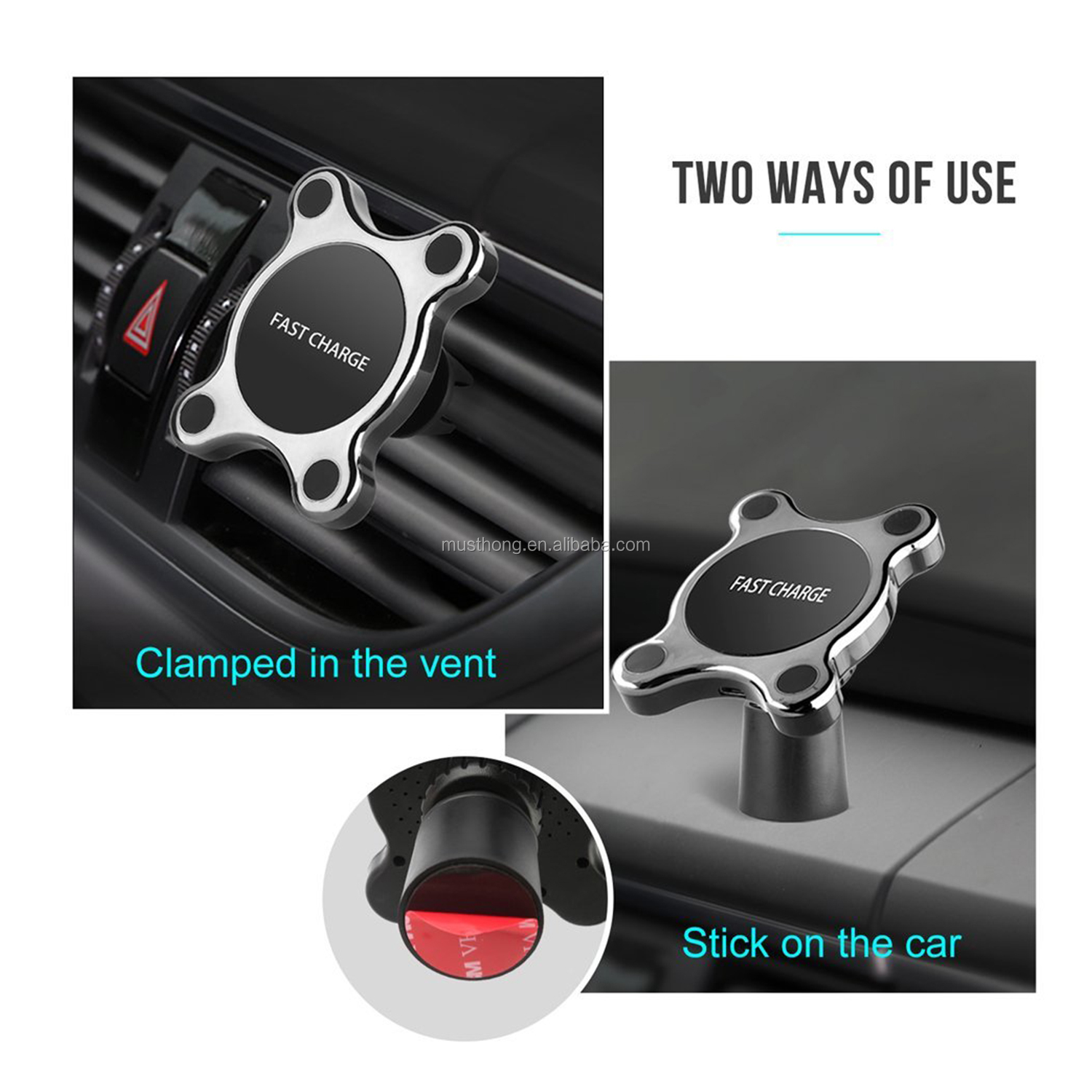 Magnetic Qi Fast Wireless Car Charger Vent Phone Mount And Cell Phone Holder Stand For All Qi-Compatible Mobile Phones