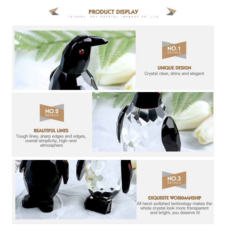 Two color baked crafts animals crystal Penguin for home decoration