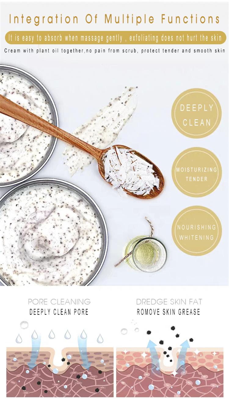 Gommage au sucre Spa personnalisé marque privée naturel organique hydratant blanchissant avocat lait de coco exfoliant corps gommage crème