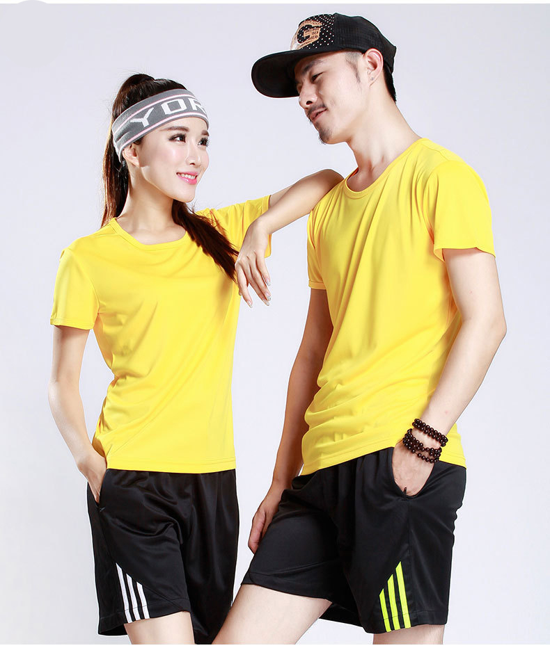 wholesales custom logo quick dry sports fitness round-collar t-shirt