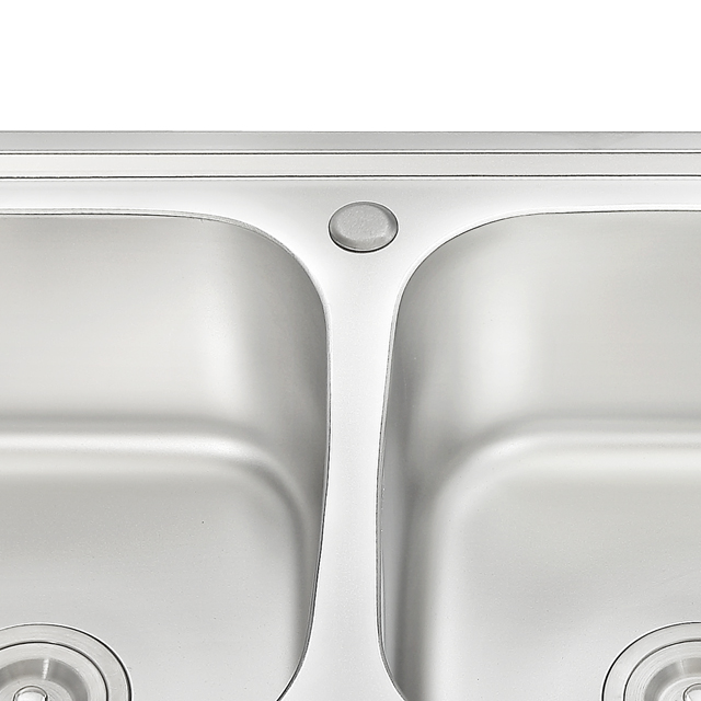 modern design small size double bowl 304 ss stainless steel kitchen sink with drainboard
