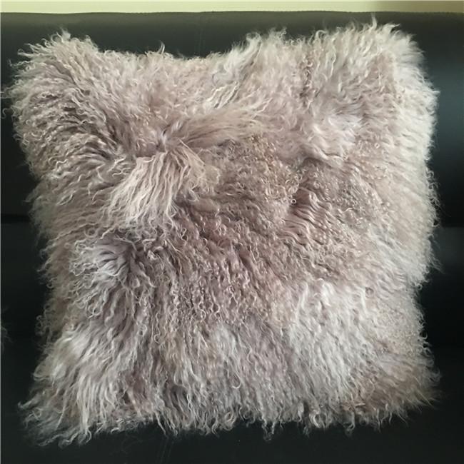 Grey dyed long hair mongolian sheepskin cover