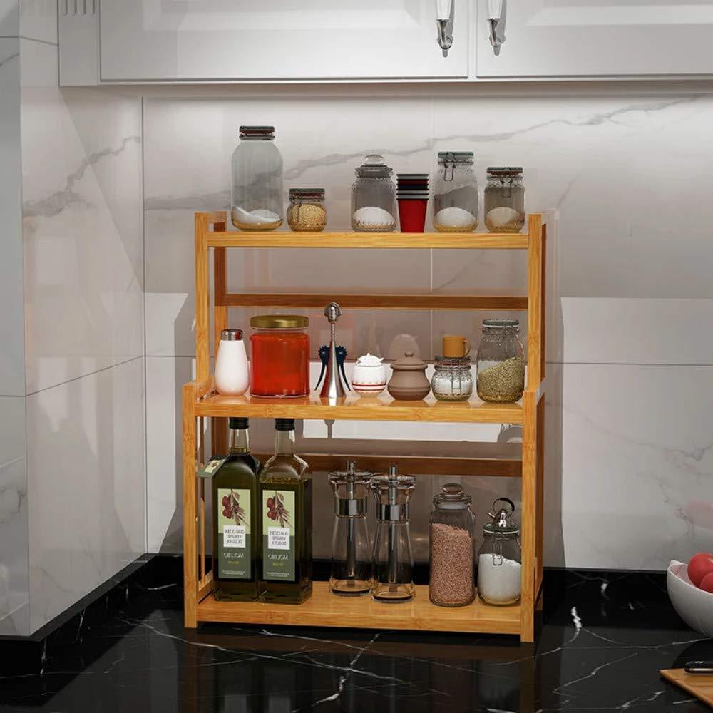 Kitchen Bathroom Countertop Display /& Storage Rack Bamboo Spice Rack Organizer