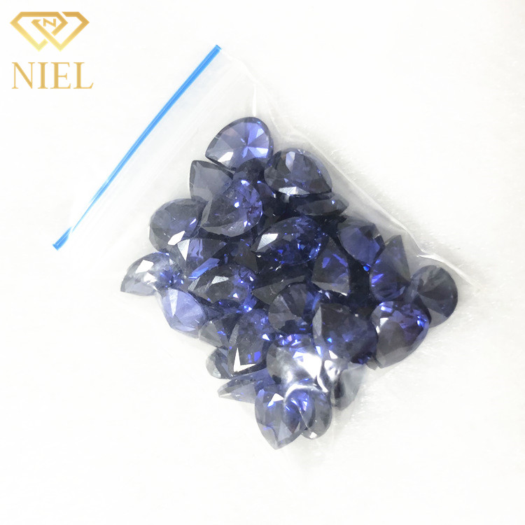 Beautiful tanzanite zircon <strong>pear</strong> shaped cutting method 7x9mm size synthetic cubic <strong>zirconia</strong>