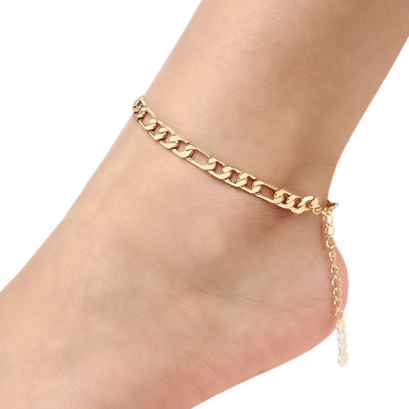 Wholesale Europe And America Hot Anklets Foot Jewelry Gold Plated Vintage Figaro Anklet For Women