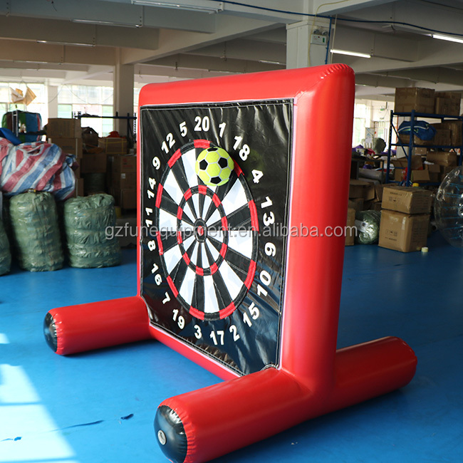Indoor red double-sided monster soccer dart game inflatable foot dart board for sale