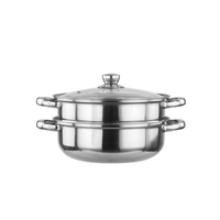 Factory direct sale restaurant home stainless steel 2 layer steamer pots with glass lid