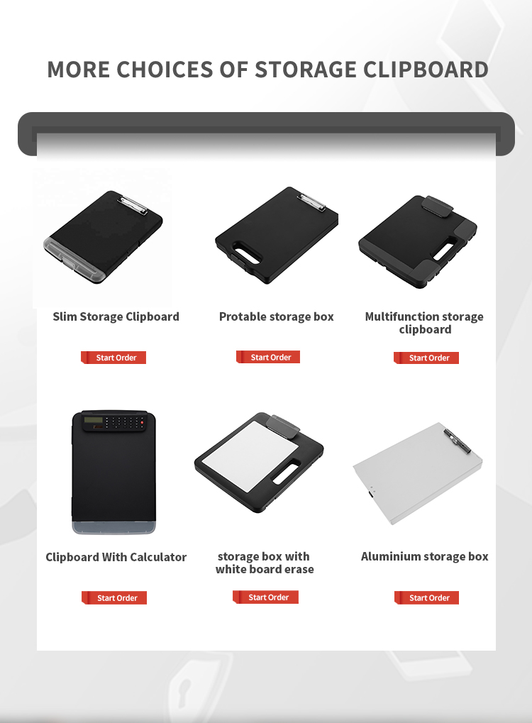 Hot Sale Plastic Multifunction Storage Clipboard with Flexible Storage Compartments