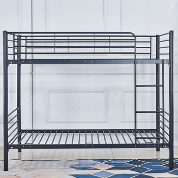 Black Finish Metal Bunk Bed Twin Top