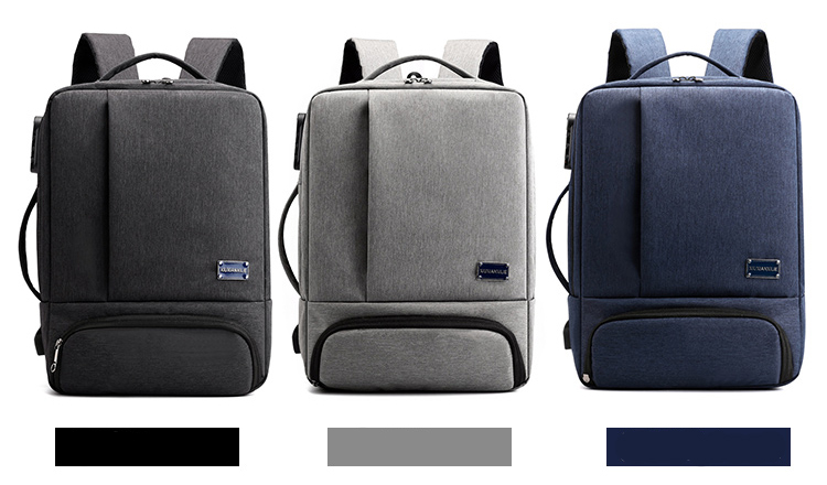 "Custom New Design USB Charging Convertible 15.6"" Laptop Business Backpack With Shoes Departement"