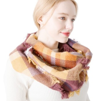Acrylic infinity scarf plaid neck warmer wholesale women winter scarf