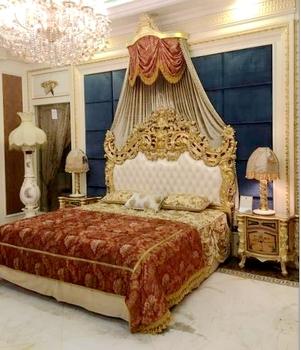 Luxury High End 24k Gold Super Big King Size Bedroom Furniture