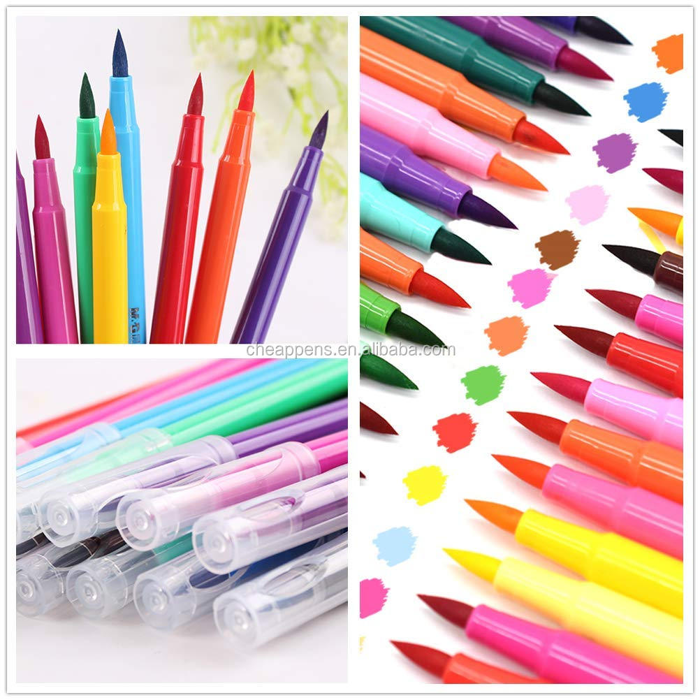 newly design solid color 100 colors comfort grip triangular body fine line tip and soft brush tip paint marker pen