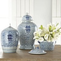 Chinese classic blue and white porcelain vase home office hotel antique decoration ceramic vase