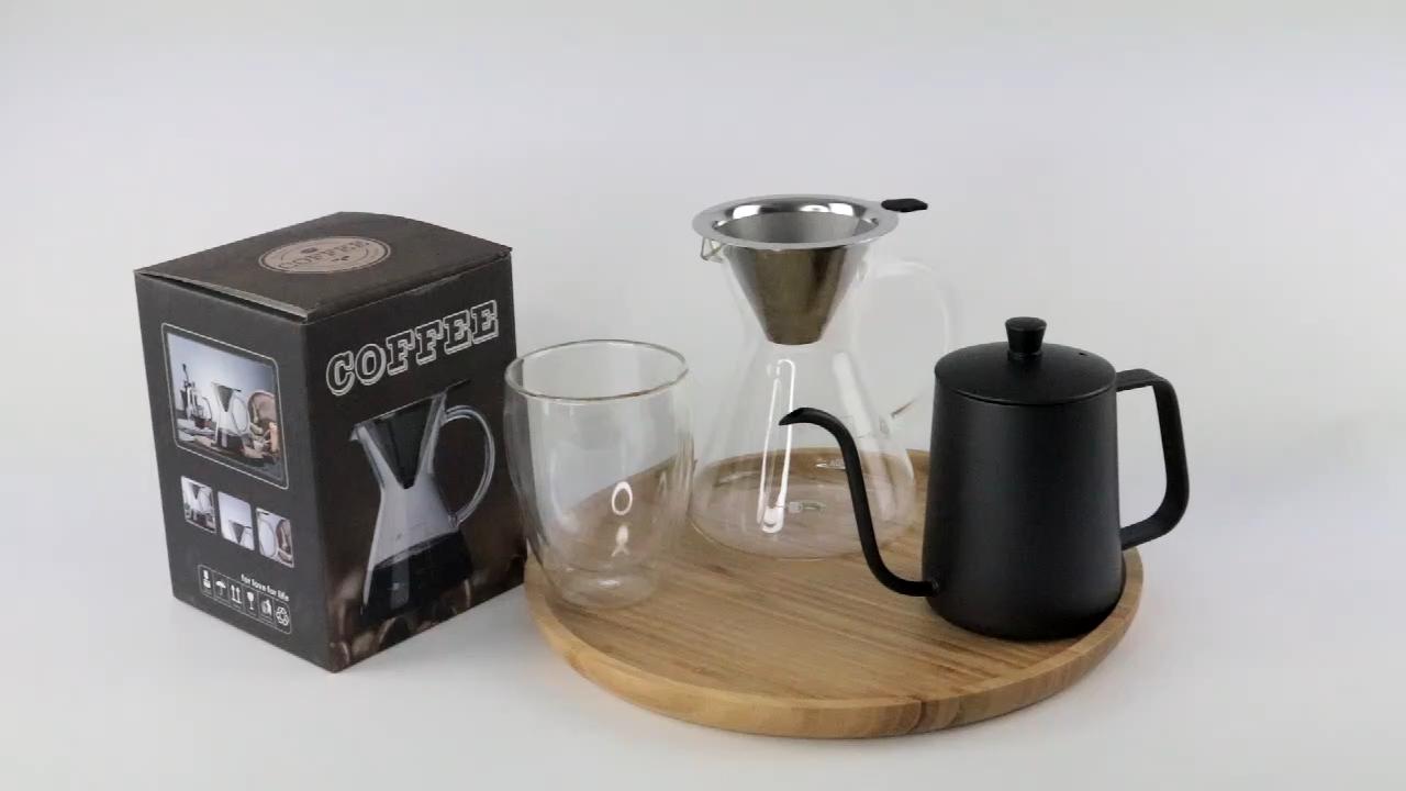 600ml 800ml 1000ml mano goteo de vidrio de borosilicato cerveza filtro de café Café creador conjunto