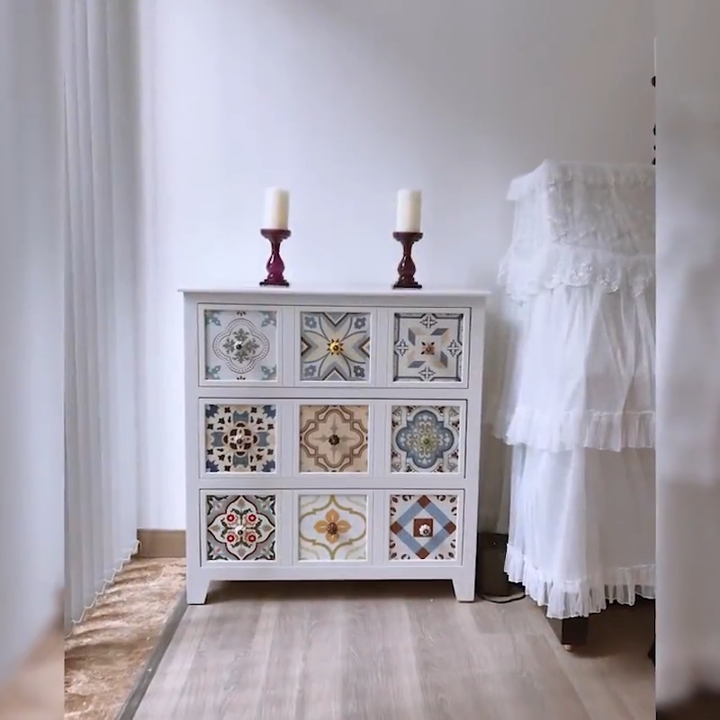 Cajonera Industrial Vintage de 3 capas, mueble de almacenamiento, mueble antiguo de color blanco