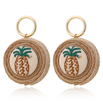 VRIUA Vintage Pineapple Earring Jewelry  Rattan Weaving Printing Pineapple Earrings For Girls Women Jewelry
