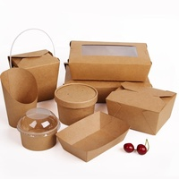 Fast food biodegradable disposable kraft paper food container take away kraft package boxes