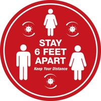 Stand Here Floor Sign Decal Sticker Keep 6ft in Between Distance Marker Floor