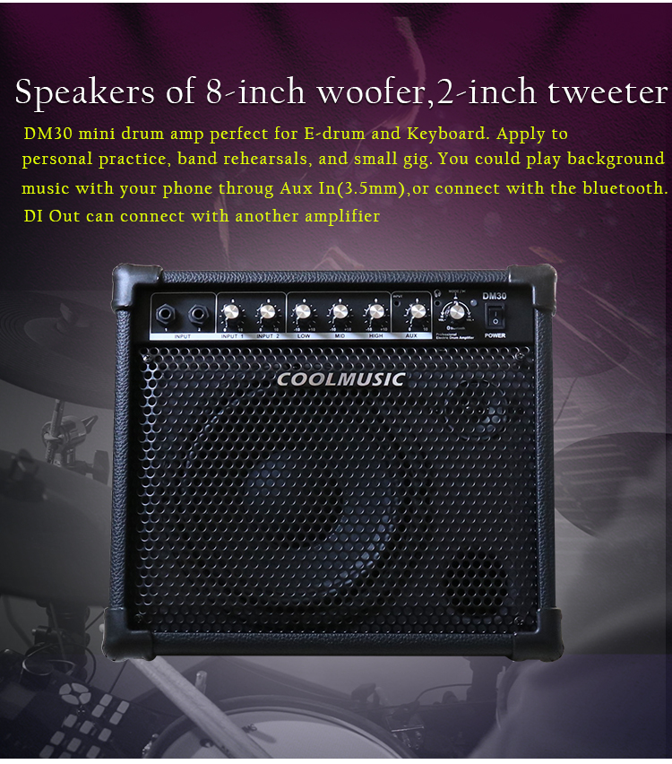 Coolmusic Amplificador personal Bluetooth de 20 W para amplificador de tambor el/éctrico teclado y guitarra ac/ústica