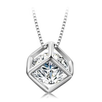 XN4248 xuping synthetic cz rhodium plated cube zircon necklace, new arrived stone necklace for girls