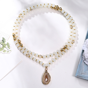 Wholesale  Brass Druzy Pendant Necklace White Natural Stone Bead Necklace