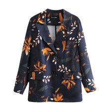 Женский блейзер с цветочным принтом KPYTOMOA, винтажный пиджак с длинным рукавом и карманами, верхняя одежда для офиса, 2020(Китай)