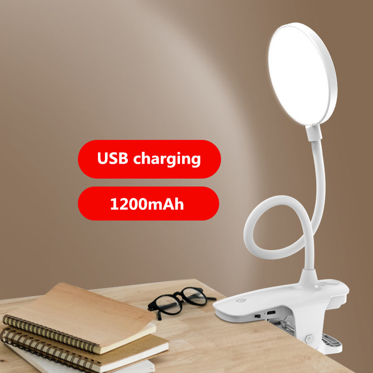 USB Clip rechargeable table lamp Touch switch to learn reading battery led table lamp 5W 1200mAh
