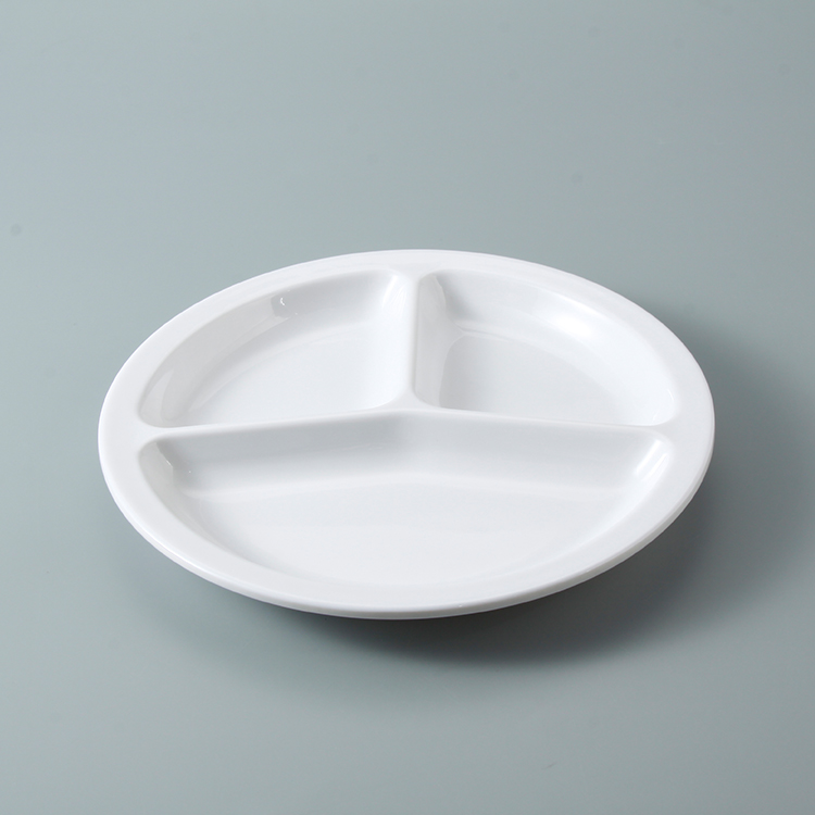 High quality plastic food melamine white 3 compartment divided dinner dishes plates