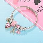 Modalen New Designer Pink Crystal Stainless Steel Bangle Charm Bracelet
