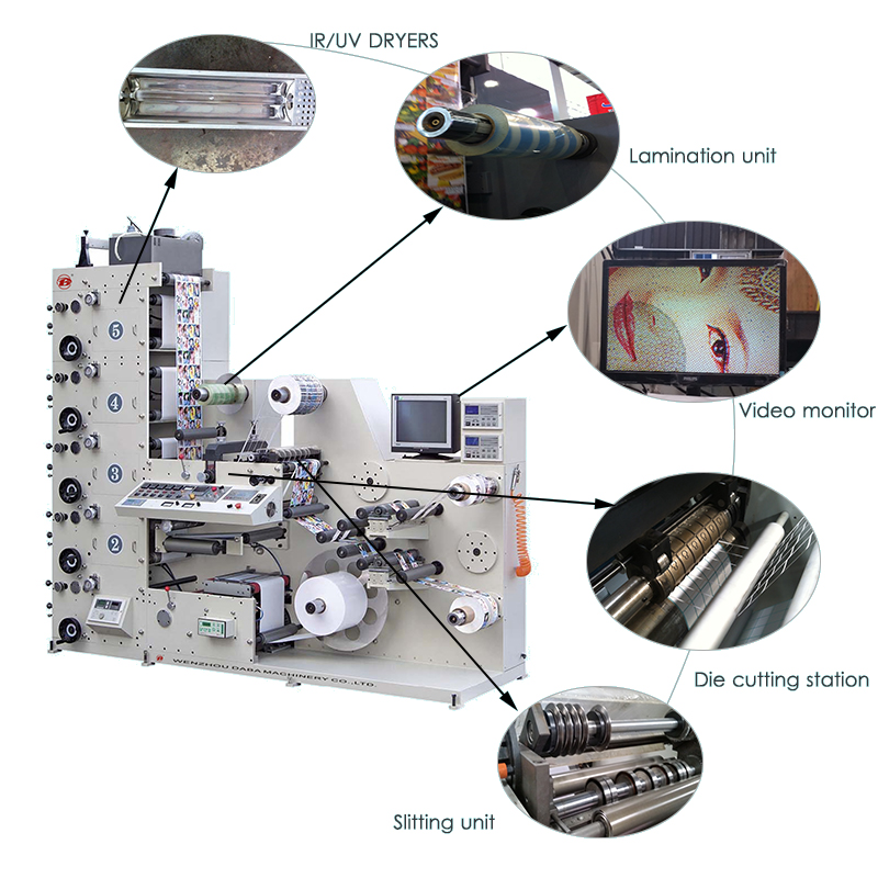 Semi-Automatic high speed flexographic adhesive color sticker printing machine label printing machine with die cutting